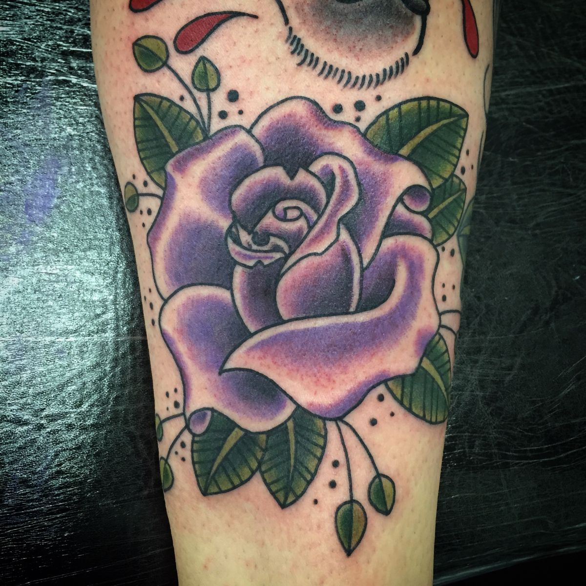 Freehand rose tattoo